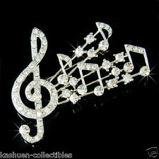 Swarovski Crystal musical Jewelry Pin Brooch ~Music Note Treble g Clef made with