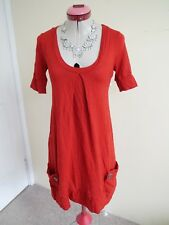 METALICUS WOOL Rust Orange DRESS One Size 10 12 Part Merino Wool Pockets Travel