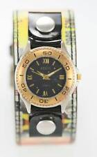 Relic Unisex Black Dial Hologram Wide Leather Cuff Silver Gold Quartz Watch