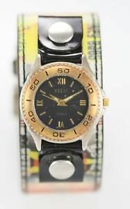 Relic Unisex Black Dial Hologram Wide Leather Cuff Silver Gold Quartz Watch