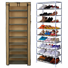 Dustproof 10 Tier Shoes Cabinet Storage Shoe Rack Stand Holds 27 Pairs UK