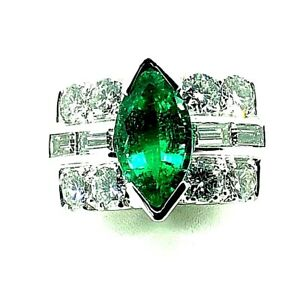 Vintage Colombian Emerald & Diamonds Ring TCW 4.98 ct
