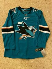 NEW (46) $180 Adidas SAN JOSE SHARKS AUTHENTIC Blank NHL Hockey Teal Home Jersey