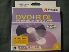 3-Pack Verbatim 8.5 GB 2.4X DVD+R DL Recordable Double Layer Disc in Jewel Cases