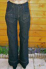 jeans coton et vinyle stretch évasé MC PLANET taille 44 fr 48i NEUF valeur 200€