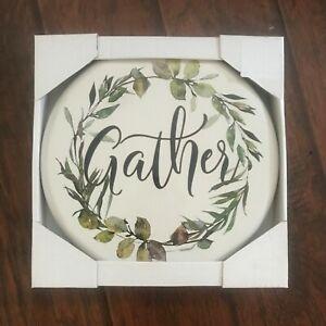 """GATHER"" ROUND METAL WALL SIGN HANGING CHAIN FARMHOUSE GREEN WREATH 12"" DIAMETER"