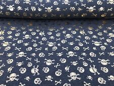 Gold Foil Skulls Print Cotton Viscose Jersey Dress Fabric Sold By Meter