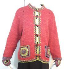 ICELANDIC DESIGN Orange Beaded Alpaca Wool Toggle Cardigan Jacket Sweater XL