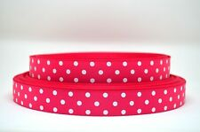 "Grosgrain Ribbon 7/8"" Polka Dot White & Hot Pink Dots Pattern Printed."