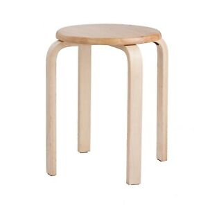 Modern K/D Rubber Wooden Stool Practical Round Stacking For Home Restaurant