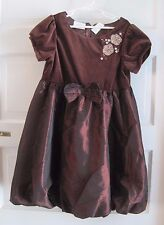 Little Bitty Chocolate Brown Velvet Metallic Sheen Bubble Dressy Dress Girls 6X