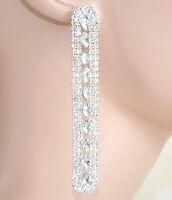 ORECCHINI donna ARGENTO cristalli strass pendenti eleganti sposa earrings 1120