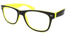 Negro y Amarillo Brillante Lente Claro Gafas Anteojos Armazón década de 1980 Forma De Colección