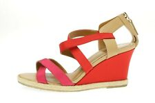 Womens Fendi Pink Red Leather Satin Wedge Strappy Sandals Size 35