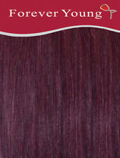 Forever Young 16-inch Long Deep Wine Number 99j Ladies Half Head Clip in Human