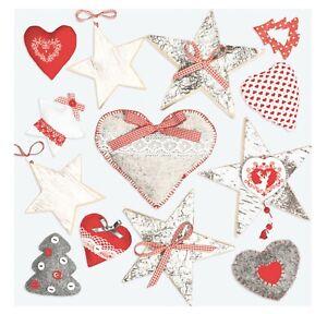 Christmas Napkins for Decoupage Paper Craft Serviettes Hearts 33x33cm 3PLY x20