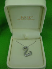 Jane Seymour 14K White Gold Open Heart 32 Diamonds=.25ct Necklace OFFERS WELCOME