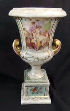 DRESDEN PORCELAIN URN MAIDENS & CUPIDS 1800'S DOUBLE CROSSED LINES KAUFMANN