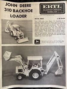 1975 ERTL John Deere 310 Backhoe Loader Tractor Model 8015 — INSTRUCTIONS ONLY