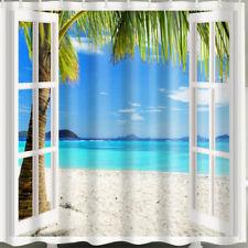 1 Pc Waterproof Scene-outside-Window Shower Curtain for Home & Bathroom