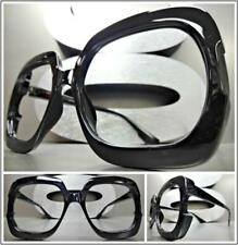 Women Oversized Retro Style Square Black Lensless Eye Glasses Frame Only NO Lens