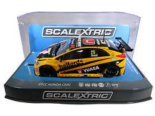 "Scalextric ""Yuasa"" BTCC Honda Civic DPR W/ Lights 1/32 Scale Slot Car C3861"