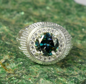 Free Certificate 4.96 Ct Round Green Diamond Solitaire Men's Ring With Accents