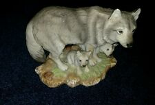 HOMCO WILDLIFE FIGURINE GRAY WOLVES ENDANGERED SPECIES 1995