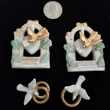 4 pcs. Antique Wedding Cake Topper Doves Gold Rings 1881 Bisque Germany 1800s