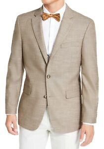 Tommy Hilfiger Mens Blazer Tan Brown Size 38 Two-Button Notched $295 #189