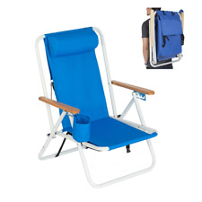 NEW Backpack Folding Beach Lounge Chair Portable Camping Fishing with Cup Holder