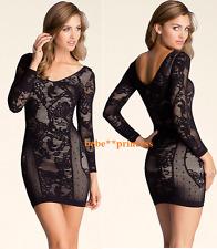 NWT bebe lace M L black nude 3/4 sleeve slash floral double v top bodycon dress