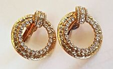 Vintage Antique FRENCH Gold Plated and CZ CLIP-ON Hoop EARRINGS QUALITY Unsigned
