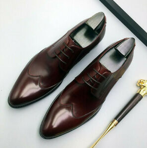 Brogue Mens Real Leather Business Shoes Oxfords Pointy Toe Bridegroom Wedding L