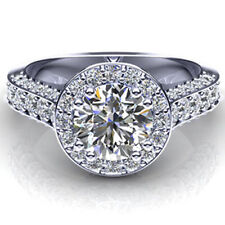 2 Ct Round Cut +AAA Grade CZ Vintage Style Halo Engagement Ring 14K White gold