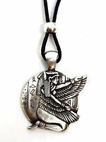 Egyptian Kneeling Winged Isis Goddess Pendant Beaded Pewter Necklace