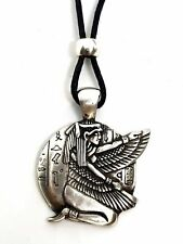 Egyptian Kneeling Winged Isis Goddess Luck Pendant Beaded Cord Necklace