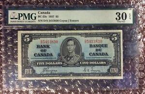 1937 $5 Canda Banknote BC-23c S/N D/S 5413830 Coyne | Towers PMG 30 EPQ