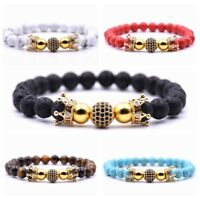 Men Women Zircon Beads Double Crown Bracelet Tiger Eye Turquoise Stone Bracelets