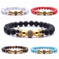 Men Women Zircon Beads Double Crown Bracelet Tiger Eye Turquoise Stone Bracelets