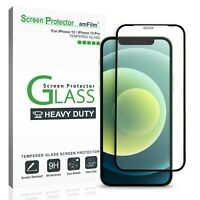 """amFilm iPhone 12/12 Pro Screen Protector, Heavy Duty Tempered Glass Film (6.1"""")"""