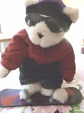 "Vermont 17"" White Teddy Bear Dressed as a Snow Boarder with Snow Board"