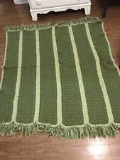 Vintage Handmade Afghan Throw Blanket Crochet Green Wool 55x60
