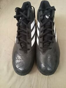adidas Men's Freak Mid Md Football Shoe Size 12W Black and White Cleats Football