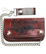 """LUCKY 13 Old Speed Genuine Embossed Leather 6"""" Chain Wallet Antiqued NEW"""