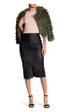 NWT $898 ALICE + OLIVIA Valeri Lambskin Leather Pencil Skirt Black 2