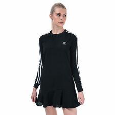 Женские Adidas Originals круглый вырез длинным рукавом стандартный крой платье в черном