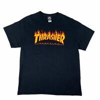 Thrasher Magazine T Shirt Men's Size Large Black Short Sleeve Skateboarding Tee