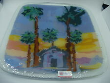 PEGGY KARR Fused glass 11 inch Square Plate Beach Hut Palm Trees Signed
