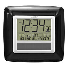 WT-8112U-BK La Crosse Technology Solar Atomic Digital Wall Clock IN Temp/Humid